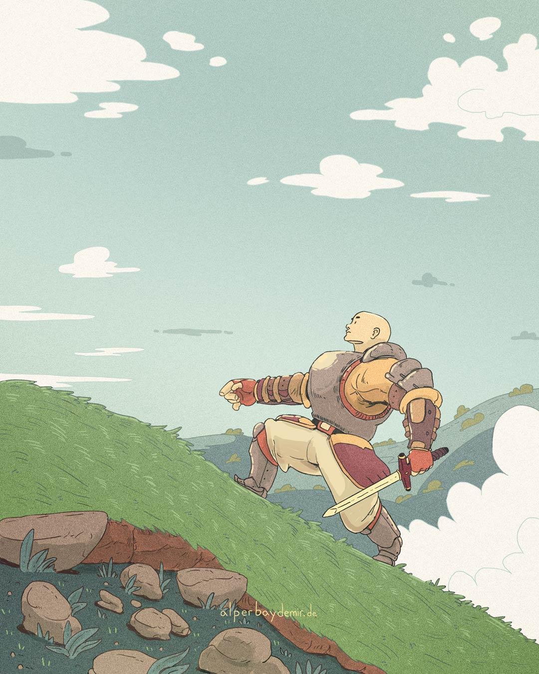 Ein Ritter mit Schwert steigt gemütlich den Abhang hinauf