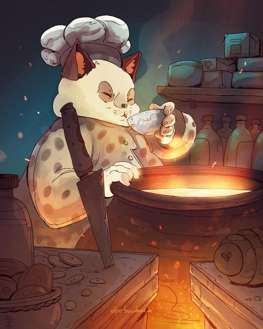 Kochende Katze schmeckt Essen ab