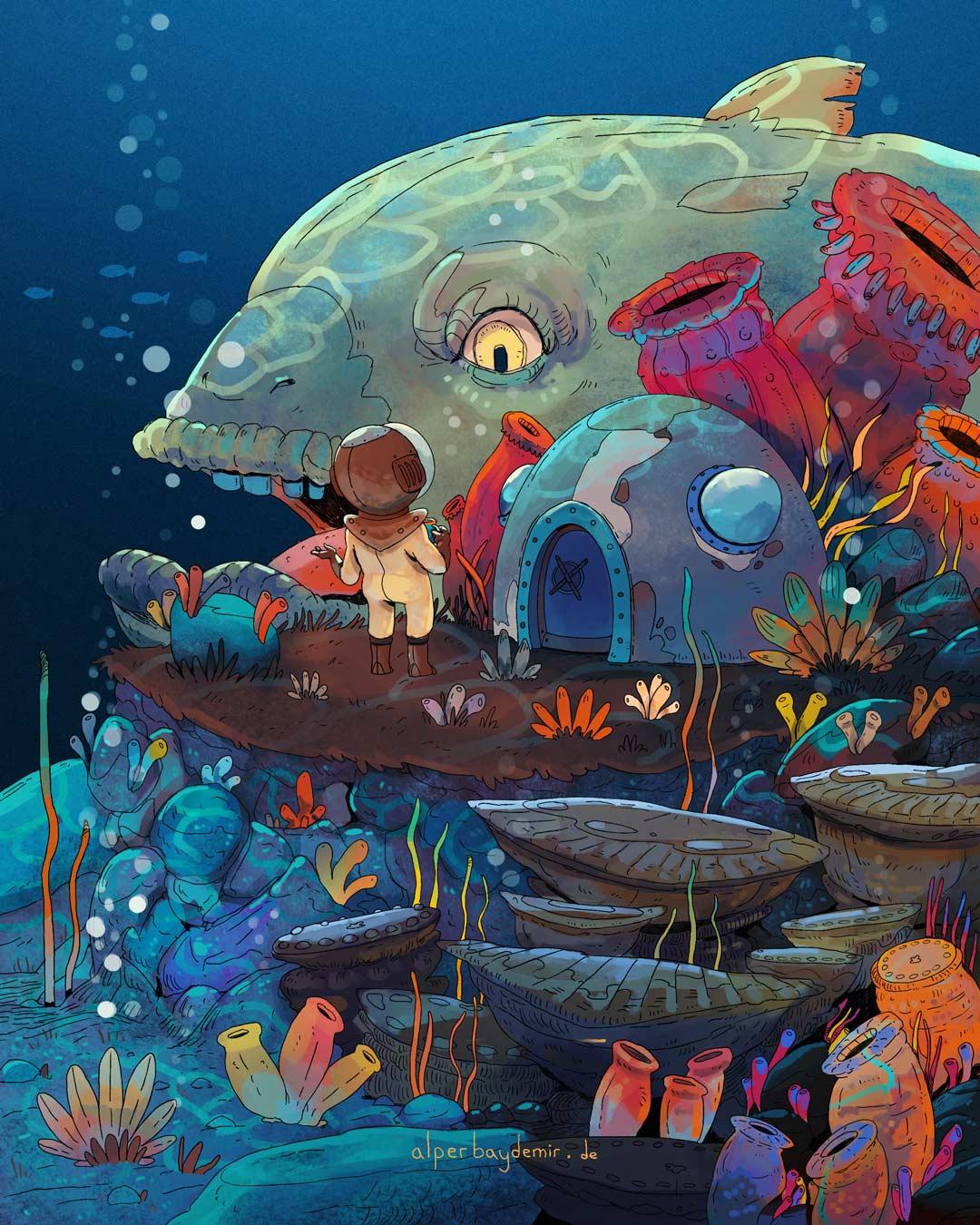 illustration Mann im Tauchanzug zwischen Korallen und Fischen