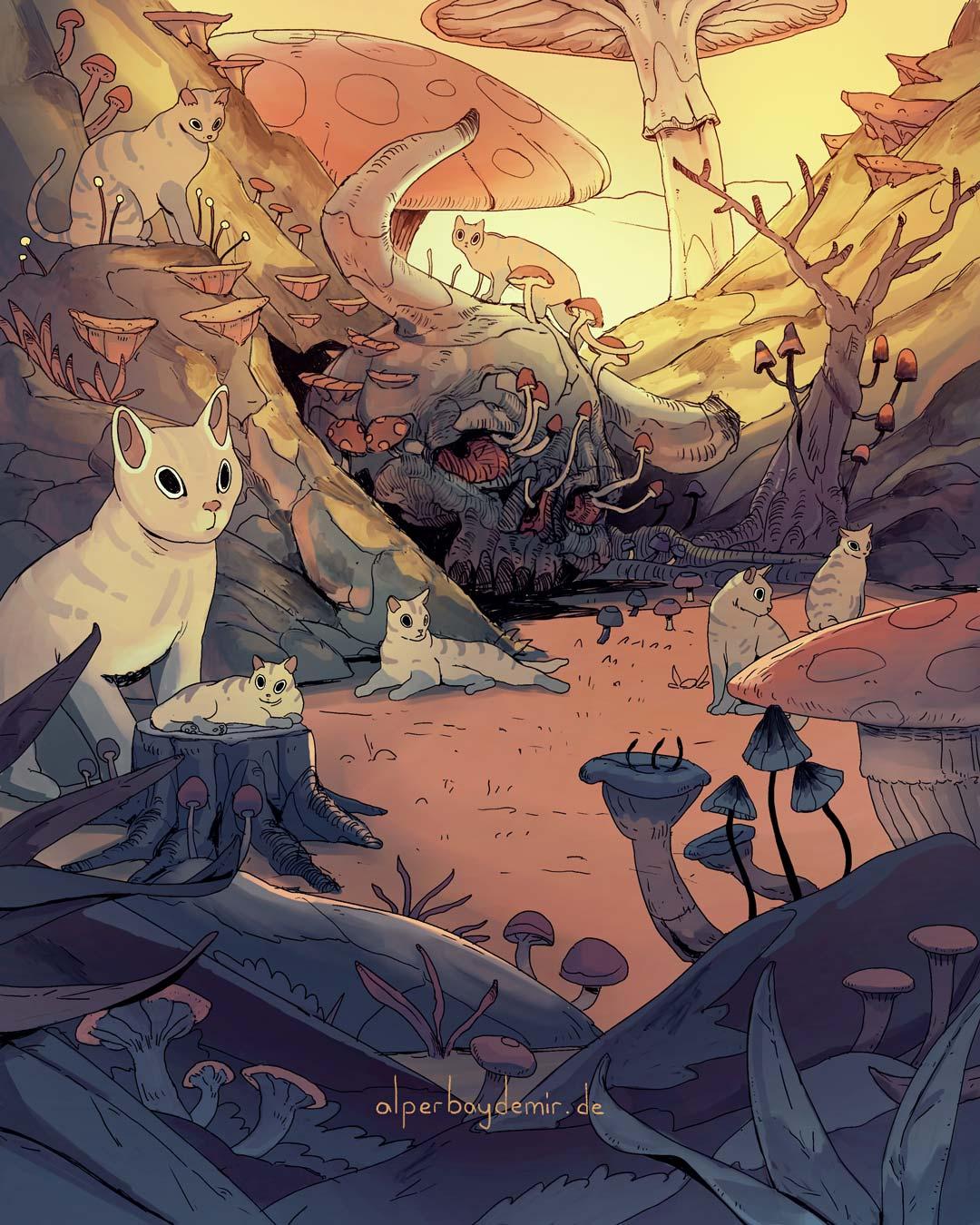 illustration Katzen und ein riesiger Totenschädel