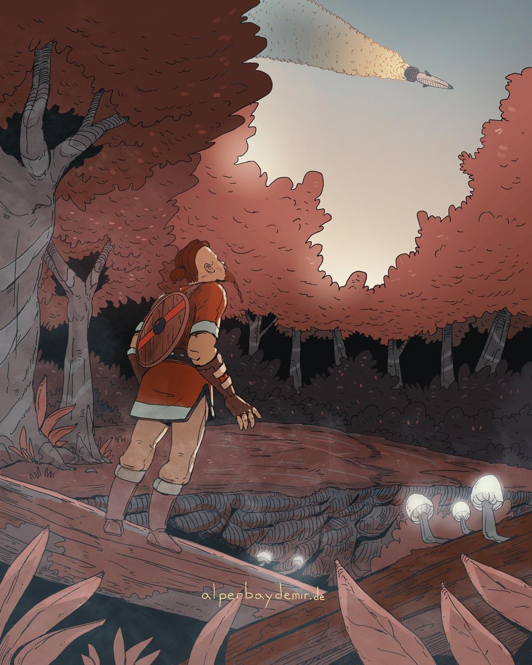 illustration Wikinger im Wald schaut auf eine Rakete