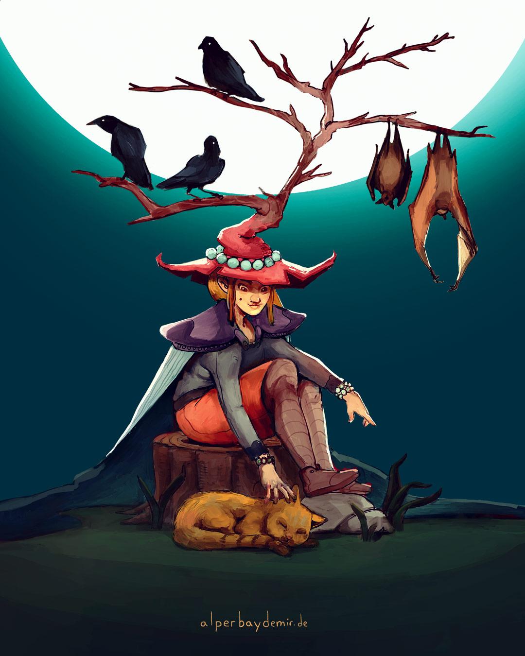 illustration-Eine-Hexe-streichelt-ihre-Katze