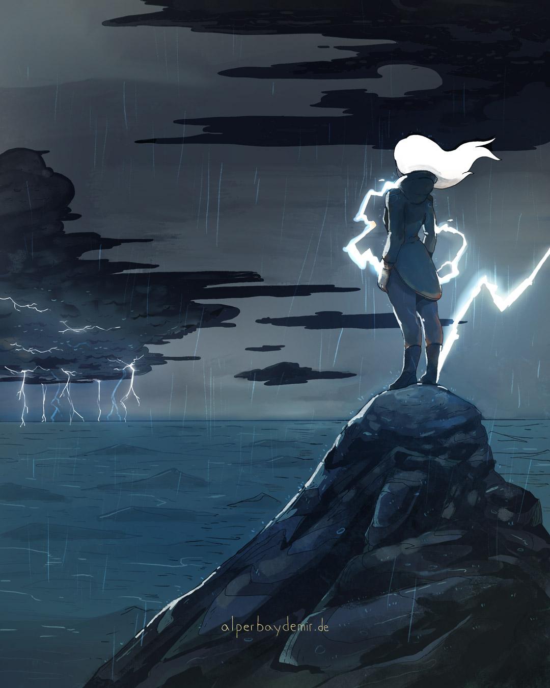 illustration-Eine-Frau-umgeben-von-Blitzen-blickt-auf-eine-Gewitterwolke