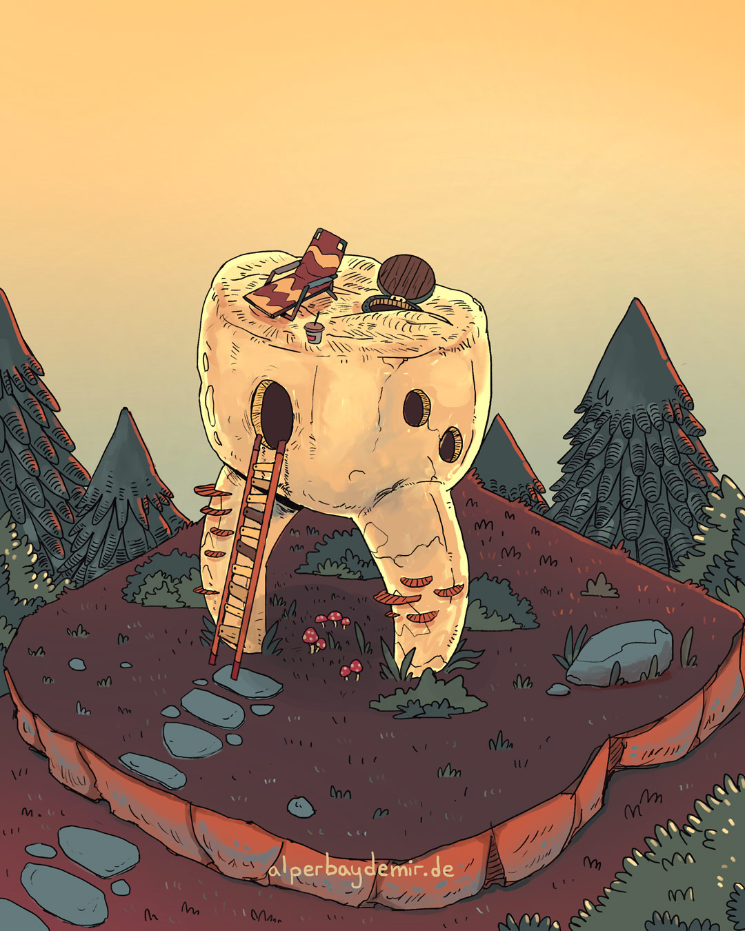 illustration Großer Zahn auf dem Berg