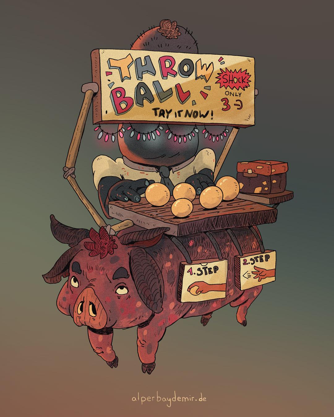 illustration Schwein als Ladenfläche